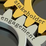 stakeholder engagement concept on the gearwheels 3D rendering
